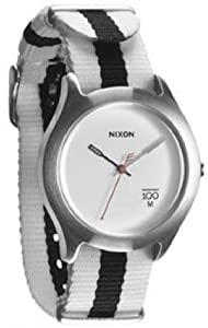 Unisex Watch Nixon A344-177 Stainless Steel Case Quartz White Dial Nylon Strap
