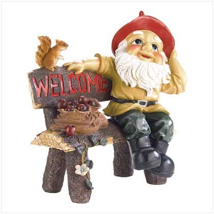 Garden Gnome with Welcome Sign