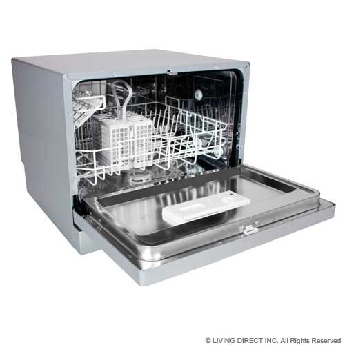 EdgeStar Countertop Portable Dishwasher for 6 Place Settings - Silver