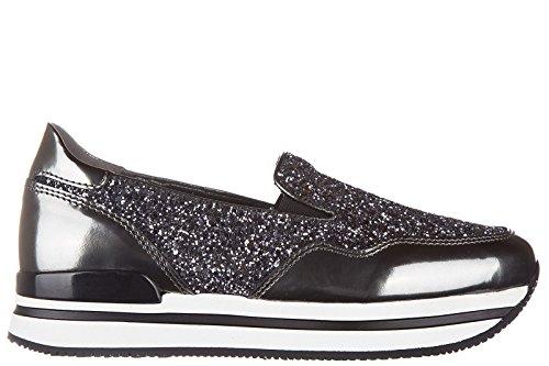 Hogan slip on donna in pelle sneakers nuove originali h222 pantofola argento EU 38 HXW2220T670BTI054U