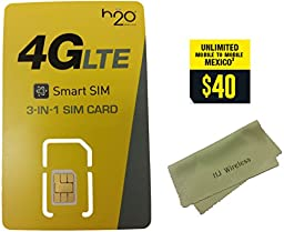 H2O Wireless Triple Cut Nano/Micro/Standard SIM Card w/ $40 Month Unlimited Call/Text/Data Plan. H20 AT&T Towers 4G LTE SIM Card Prefunded Preloaded Activation Kit($40 Monthly Plan)