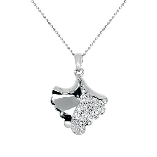 Diamond Accent Rhodium Plated Ginko Leave Pendant Necklace