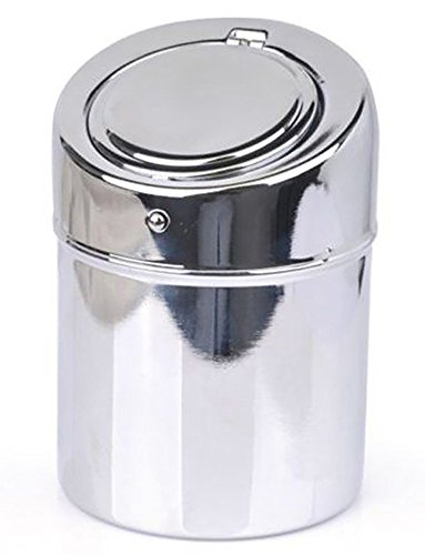 Stainless Steel Ashtray - Modern Tabletop with Lid, Cigarette Portable Ashtray for Indoor or Outdoor Use, Ash Holder for Smokers, Desktop Smoking Ash Tray for Home office Decoration, Silver