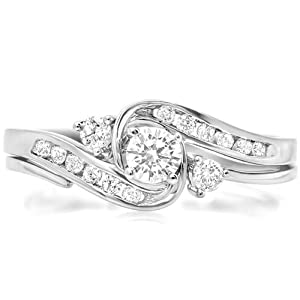 0.50 Carat (ctw) 10k White Gold Round Diamond Ladies Swirl Bridal Engagement Ring Matching Band Set 1/2 CT (Size 7.5)
