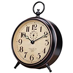 Quality Quartz Antique Tabletop Alarm Clock, Black