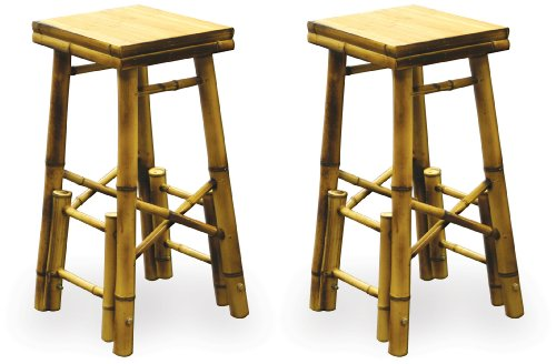 Set of 2 Bamboo Bar Stools