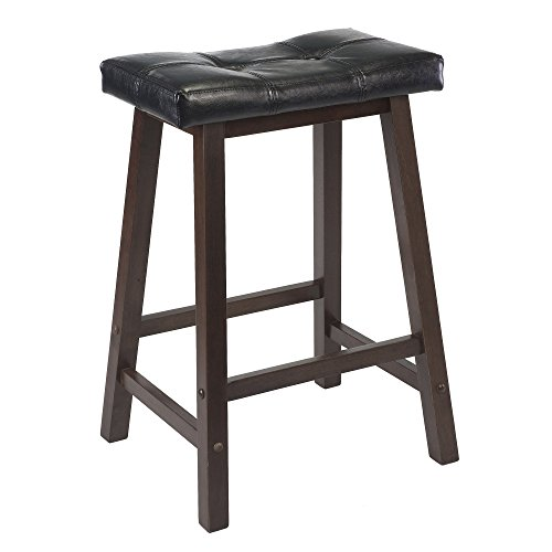 Winsome Mona 24-Inch Cushion Saddle Seat Stool, Black Faux Leather, Wood Legs, RTA