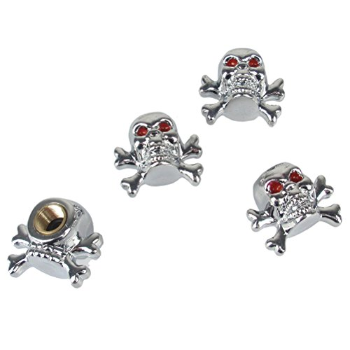 Eternalpower Custom Accessories Chrome Skull Pirate Style Valve Cap Pack of 4 (Custom Valve Caps compare prices)