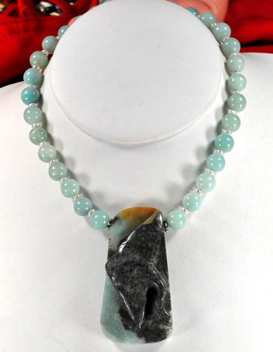 Natural Amazonite Carved Fish Pendant Sterling Silver Necklace N2_0517_06