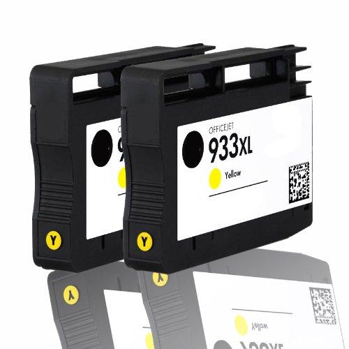 Premium 2er Pack Tintenpatronen für HP 933XL , 933 XL , CN056AE , CN 056AE HP Hewlett Packard Officejet 6100 6600 6700 kompatibel (Gelb/Yellow)