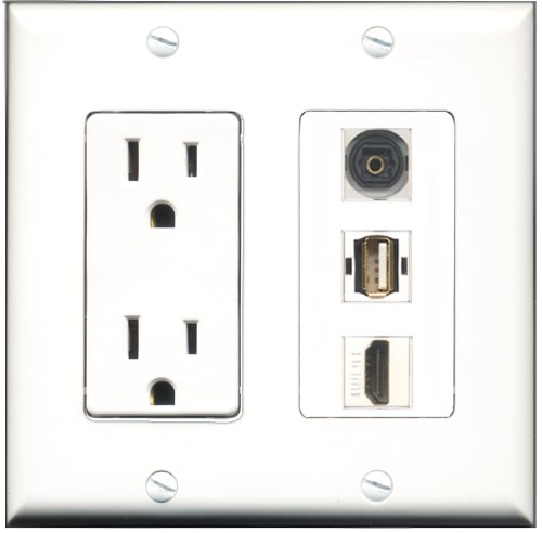 Riteav - 15 Amp Power Outlet 1 Port Hdmi 1 Port Usb A-A 1 Port Toslink Decora Wall Plate