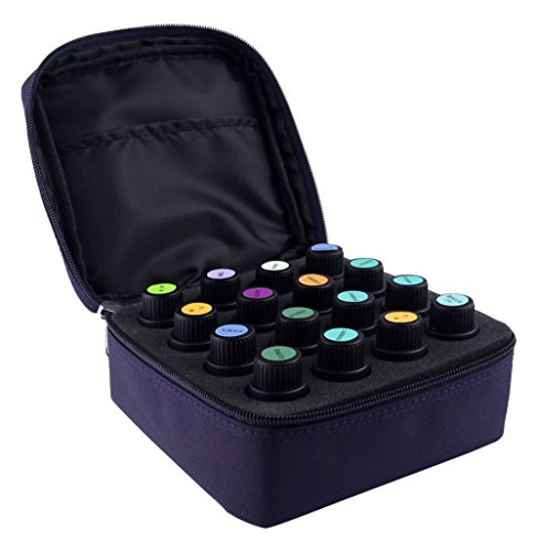16-Bottle Essential Oil Carrying Case with Foam Insert | Holds 5ML, 10ML, 15ML and Roll-Ons Bottles | Zippers, Inside Pocket and Portable Handle Bag for Travel and Home Essential Oil Bottles (Purple) (Mister Eden compare prices)