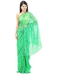 ANISHA SAREES Women's Brasso Saree (ANI-36-GREEN, Green)