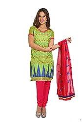 Parchayee Women's Green Jacquard Art Silk Dress Material