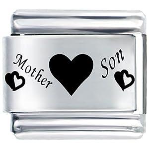 Pugster Mother Son Hearts Italian Charm Bracelet