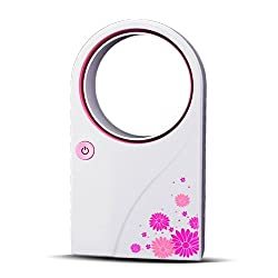 iBRIGHT No Leaf Air-Condition Fan USB & Battery Mini Bladeless Fan Pink