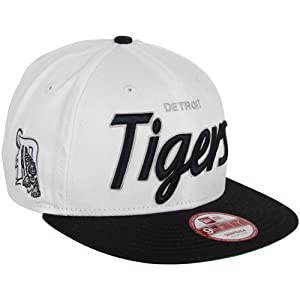 MLB New Era Detroit Tigers Team Script 9FIFTY Snapback Hat - White/Navy Blue
