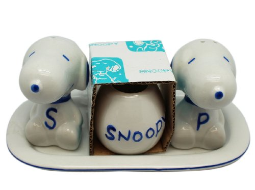Blue Snoopy Salt and Pepper Shakers with Toothpick Holder - Snoopy Dinner Set