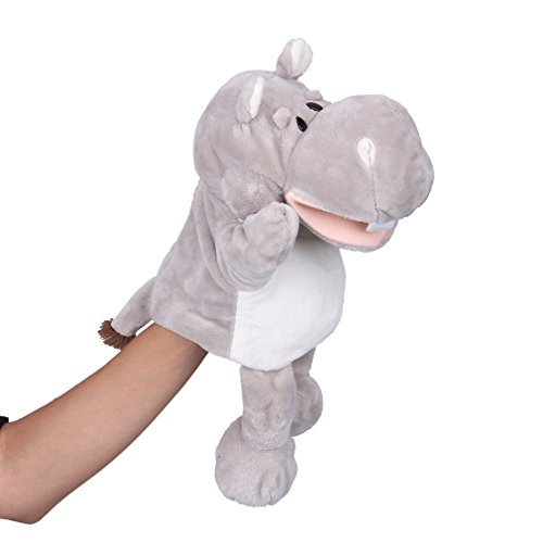 """Flexibuy 12"""" Babies Toddlers Velour Cute Hippo Full Body Hand Puppet Toys"""