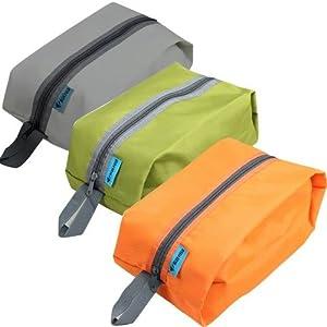 防水加工 3枚入り 収納袋 グレー/オレンジ/グリーン (靴、衣服、食糧入れ) 旅行、アウトドア、カッパ、登山