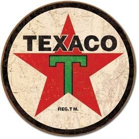 Texaco '36 Logo Round Distressed Retro Vintage Tin Sign