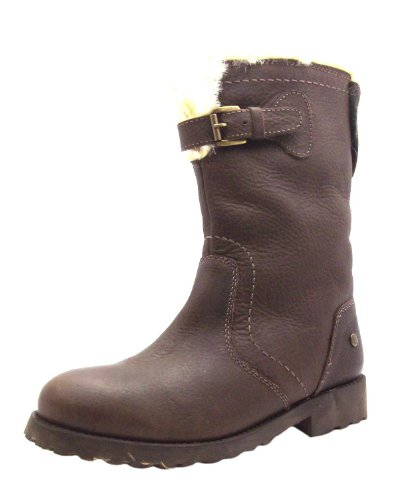 Women's Ladies Boot Blink Brown Leather Warm Lined Mid Calf Top Buckle Boots