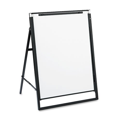 Quartet® - Futura Dry Erase Presentation Easel, Melamine, 24 x 36, White, Black Frame - Sold As 1 Each - Press a button and easel slides from tabletop height to floor standing height in seconds.