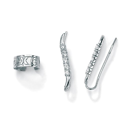 PalmBeach Jewelry Sterling Silver DiamonUltraTM Cubic Zirconia Ear Pins/