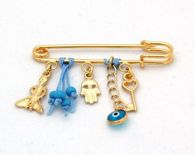 The Little Prince Pin For Baby Boys With Hamsa Hand And Luck Charms front-959913