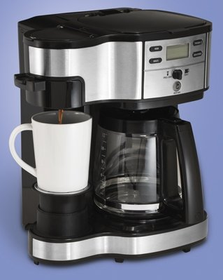 Hamilton Beach 49980Z 2 Way Brewer Single Serve and 12-cup Coffee Maker in Stainless Steel with ...