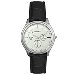 Seiko Men's SNT003 Leather Silver Dial Watch