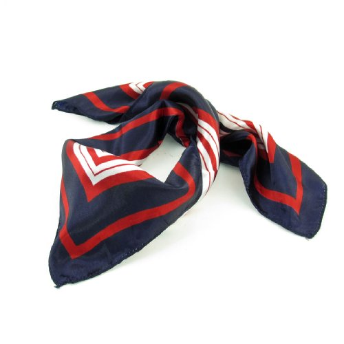 Lady Dark Blue Red White Stripe Print Square Kerchief Neck Scarf Wrap Womens Kerchief