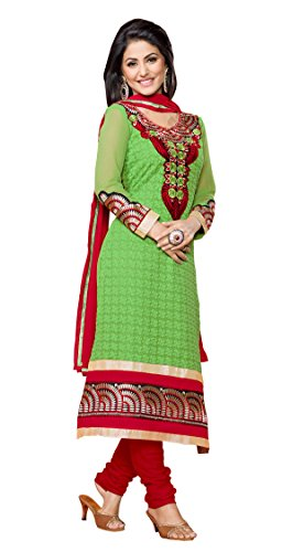 Khushali Women Georgette Karachi Unstitched Salwar Suit Dress material(Green)  available at amazon for Rs.1266