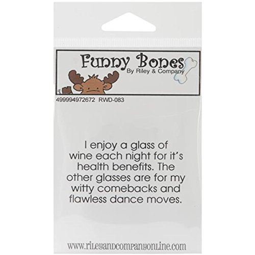 Riley & Company Funny Bones Cling Mounted Stamp, 2.5 By 1.5-Inch, Wine For Health Benefits