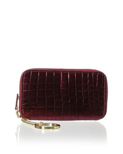 AEON Women's Zipper Key Fob, Red Metallic Croc