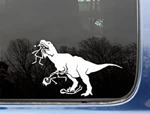 """T-Rex eating stick figure family - LARGE 8 3/4"""" x 5 1/2"""" funny die cut vinyl decal / sticker for window, truck, car, laptop, etc"""