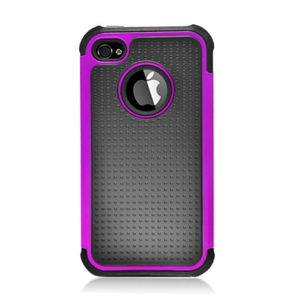 Aimo Iphone4Gpchyp014 Unique Hybrid Durable Rugged Case For Iphone 4 - 1 Pack - Retail Packaging - Purple