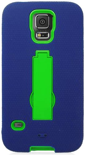 Mylife Deep Navy Blue And Vibrant Spring Green - Shock Suit Survivor Series (Built In Kickstand + Easy Grip Silicone) 3 Piece + 2 Layer Case For New Galaxy S5 (5G) Smartphone By Samsung (External Flex Silicone Bumper Gel + Internal 2 Piece Rubberized Snap