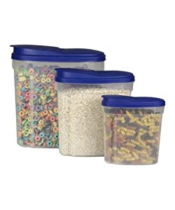 3 Piece - Plastic Cereal Snack Dispenser Set - Dry Food Storage Containers, Blue Lid *BPA... by Chef Kitchen