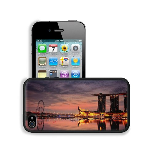 Marina Bay Sands Hotel Singapore Apple Iphone 4 / 4S Snap Cover Premium Leather Design Back Plate Case Customized Made To Order Support Ready 4 7/16 Inch (112Mm) X 2 3/8 Inch (60Mm) X 7/16 Inch (11Mm) Liil Iphone_4 4S Professional Cases Touch Accessories front-938812