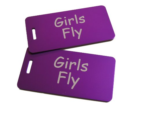 Girls Fly Bag Tag, Set of Two (Purple)