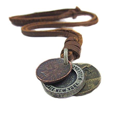 S&E Uomini stile vintage Tre soldi pendente collana in pelle catena genuino della mucca gioielli Cowboy