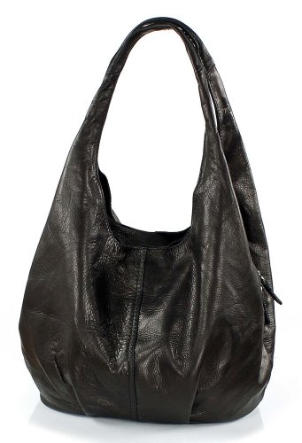 Modern Italian leather pouch bag black