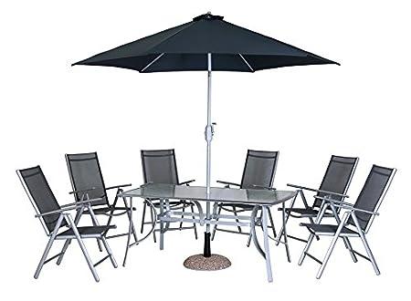 Dajar Gartenmöbel-Sets Möbel-Set Alu Capri, 6 Sessel, Tisch, Sonnenschirm, silber