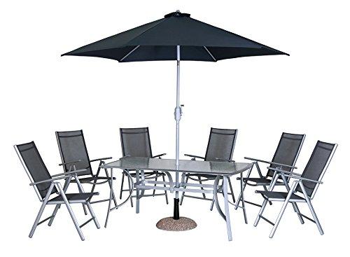 Dajar Gartenmöbel-Sets Möbel-Set Alu Capri, 6 Sessel, Tisch, Sonnenschirm, silber jetzt kaufen