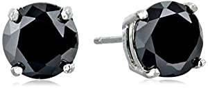 """CZ by Kenneth Jay Lane """"Classic"""" Round Cubic Zirconia 4-Prong Luxe Post Stud Earrings, 4 CTTW"""