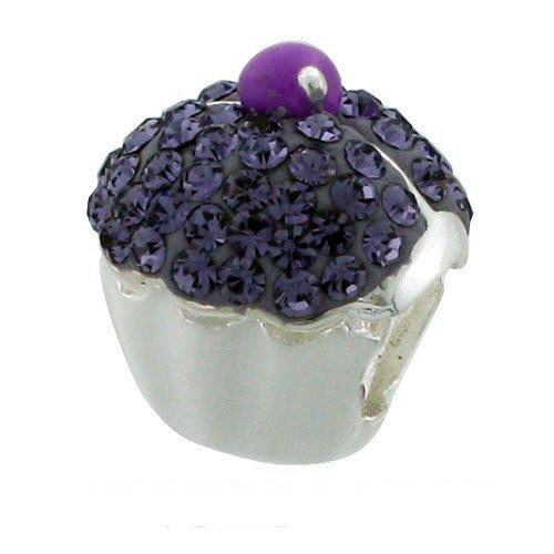 Bling Viola Cupcake Charm in argento Sterling con cristalli Swarovski, per braccialetti stile Pandora