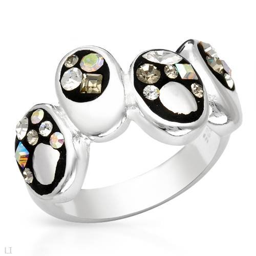 Ring With Genuine Crystals Well Made in Black Enamel and 925 Sterling silver. Total item weight 6.9g (Size 8)
