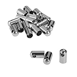 VALYRIA 20pcs Bright Silver Stainless Steel Leather Cord End Caps Findings 10x4.5mm