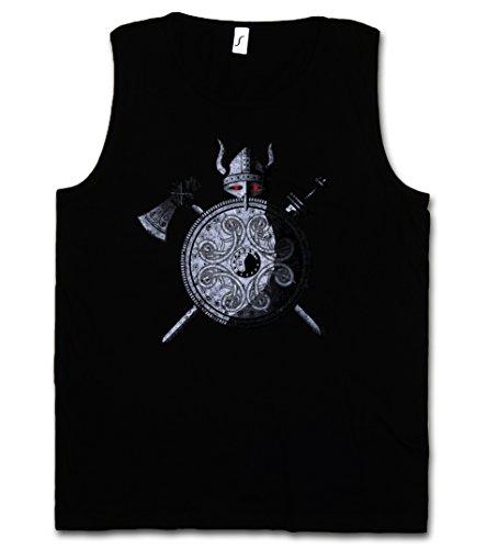 VIKING WARRIOR CANOTTA TANK TOP - Viking Ragnarök norvegese Scandinave Loki Sword Shield Celtic Triskel Thor Odin Shirt Taglie S - 5XL